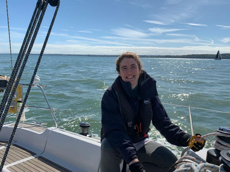 Competent Crew student on the head sail sheet