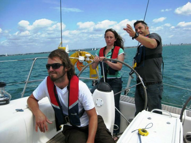 Photo of students being taught on the water in an RYA Practical Training Course