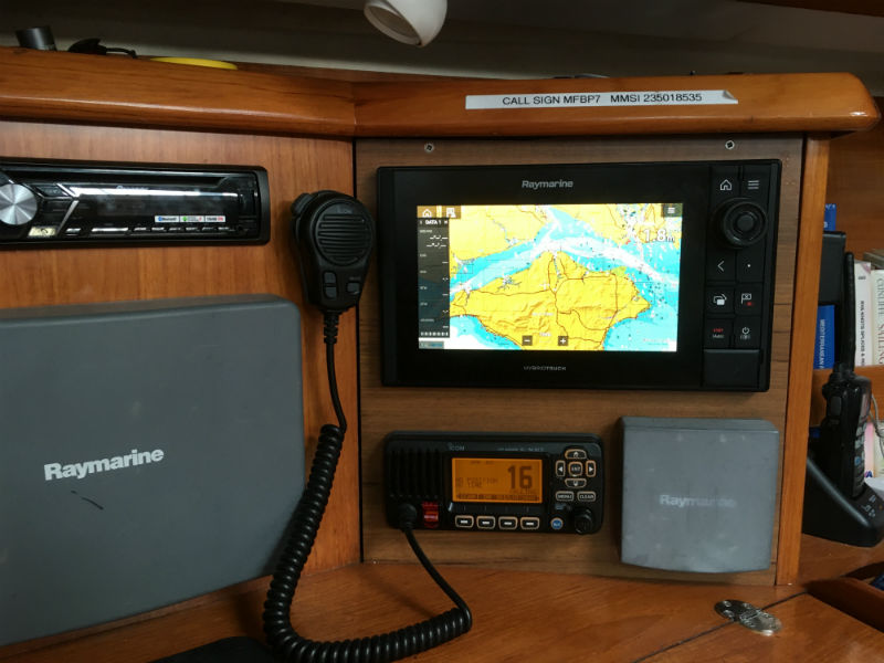 Photo of Chart table and navigation equipment on Menai III Jeanneau Sunfast 37