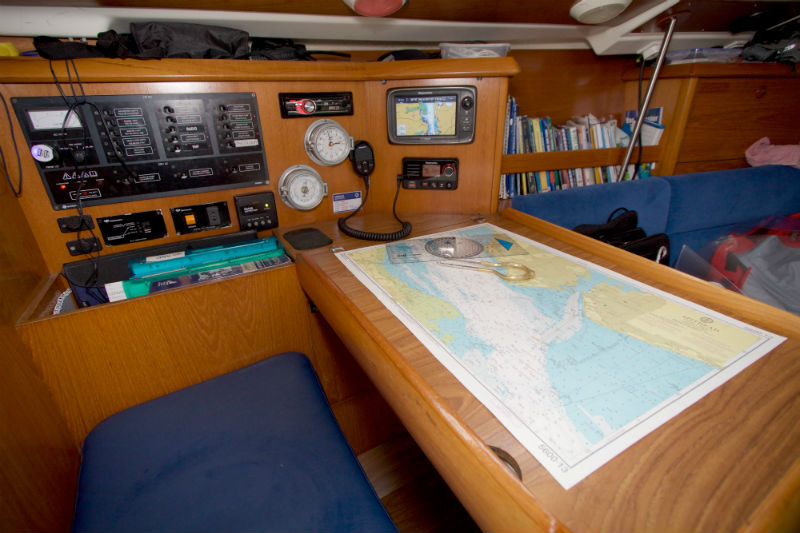 Photo of Chart table and navigation equipment on Nomad 1 Jeanneau Sunfast 37