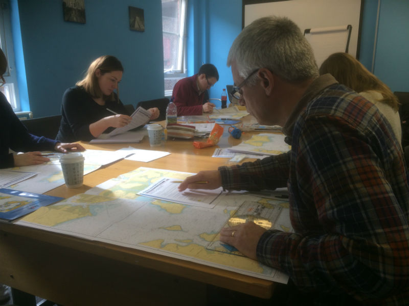 Photo of yachtmaster student doing chartwork